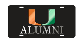 Miami Hurricanes Alumni Front License Plate Tag - CanesWear at Miami FanWear Automobile Accessories Craftique CanesWear at Miami FanWear