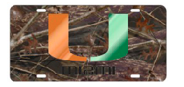 Miami Hurricanes U Camo Front License Plate - CanesWear at Miami FanWear Automobile Accessories Craftique CanesWear at Miami FanWear