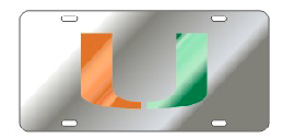Miami Hurricanes Mirrored U logo Front License Plate