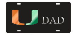 Miami Hurricanes U Dad Front License Plate Tag - CanesWear at Miami FanWear Automobile Accessories Craftique CanesWear at Miami FanWear
