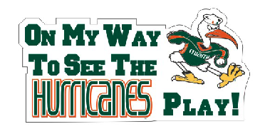 On My Way To See The Canes Play Car Magnet - CanesWear at Miami FanWear Decals & Stickers Craftique CanesWear at Miami FanWear