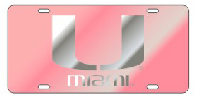 Miami Hurricanes Pink U Front License Plate Tag - CanesWear at Miami FanWear Automobile Accessories Craftique CanesWear at Miami FanWear
