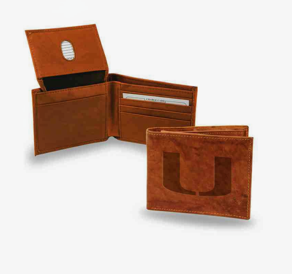 Miami Hurricanes Leather Billfold Wallet