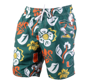 Miami Hurricanes Floral Volley Evergreen Swim Trunks