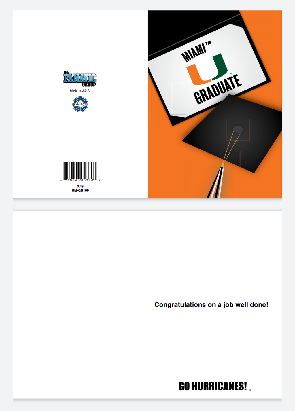 Miami Hurricanes Miami Graduate Greeting Card
