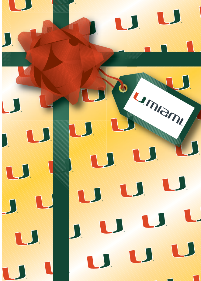 Miami Hurricanes Happy Birthday Card- Yellow Gift