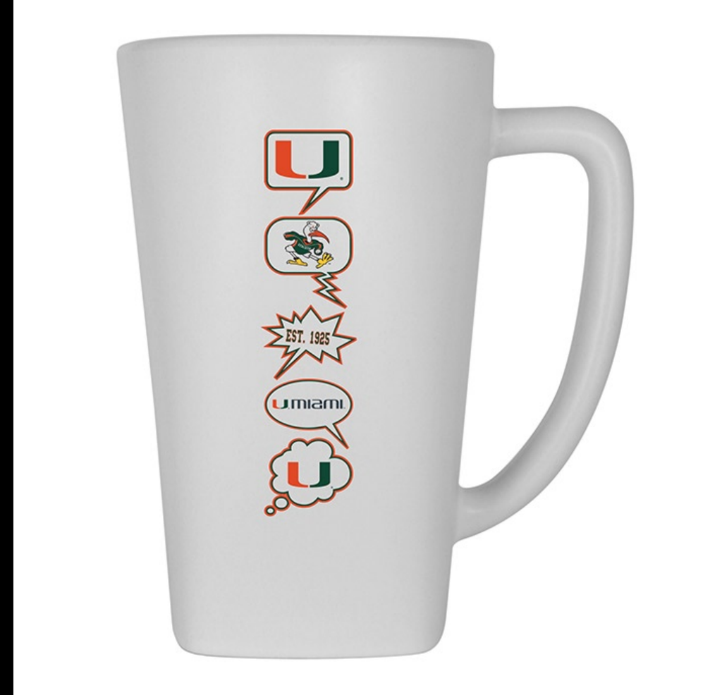 Miami Hurricanes 16 oz Ceramic Mug- White
