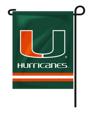 Miami Hurricanes Striped Garden Flag - Green