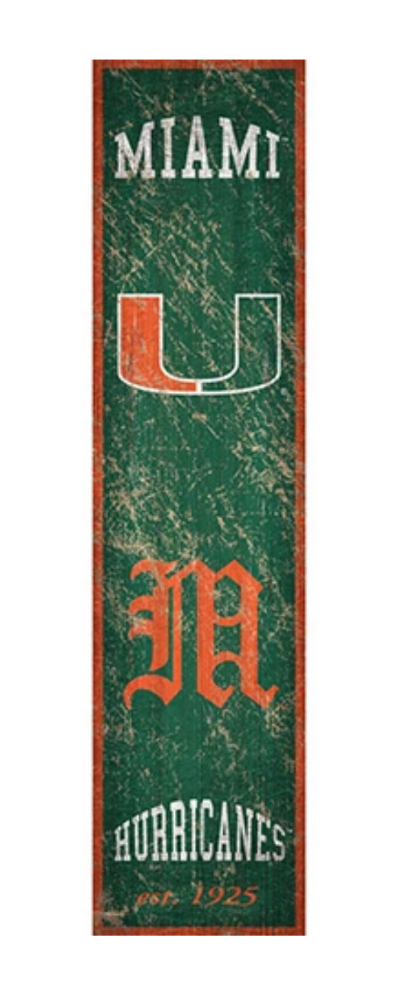 "Miami Hurricanes Heritage Banner Wooden Sign - 6"" x 24"""