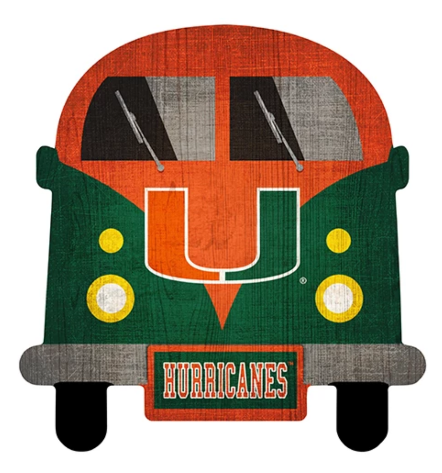 Miami Hurricanes Team Bus Wooden Sign - 12""