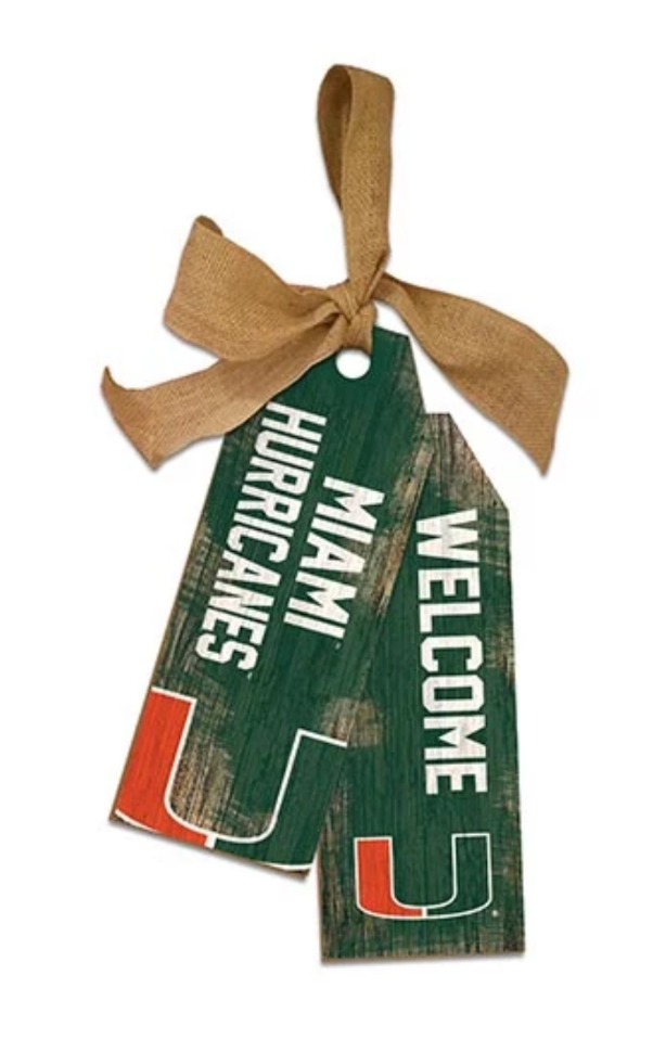 Miami Hurricanes Team Tags Wooden Sign - 12