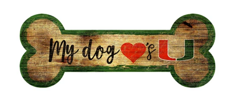 Miami Hurricanes Dog Bone Wooden Sign