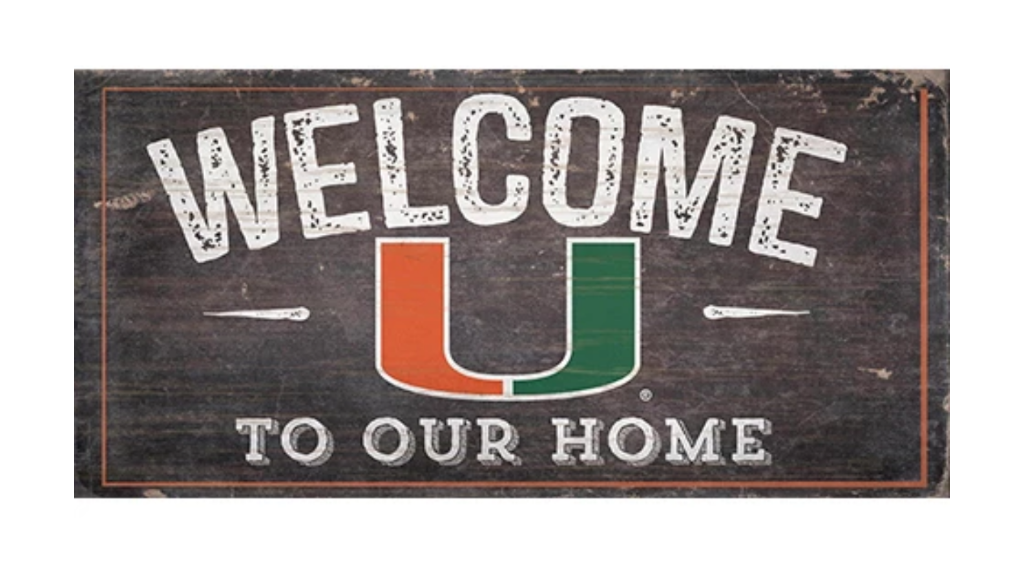 "Miami Hurricanes Welcome Distressed Wooden Sign - 6"" x 12"""
