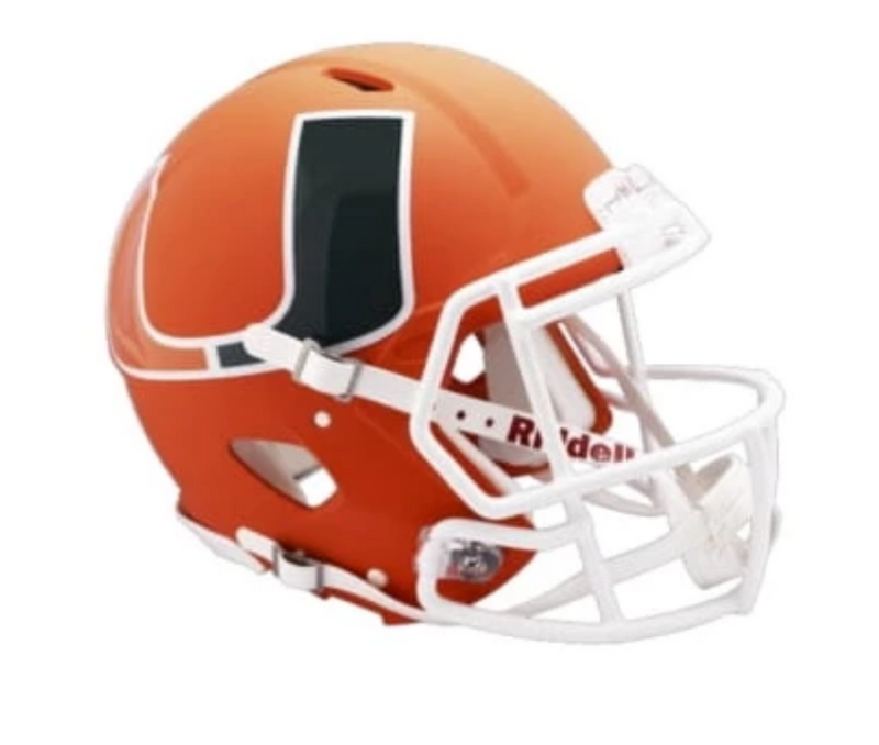 Miami Hurricanes AMP Alternate Riddell Speed Mini Helmet - Orange