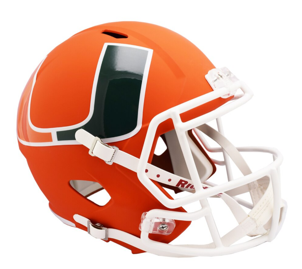 Miami Hurricanes AMP Alternate Speed Riddell Full Size Replica Helmet - Orange