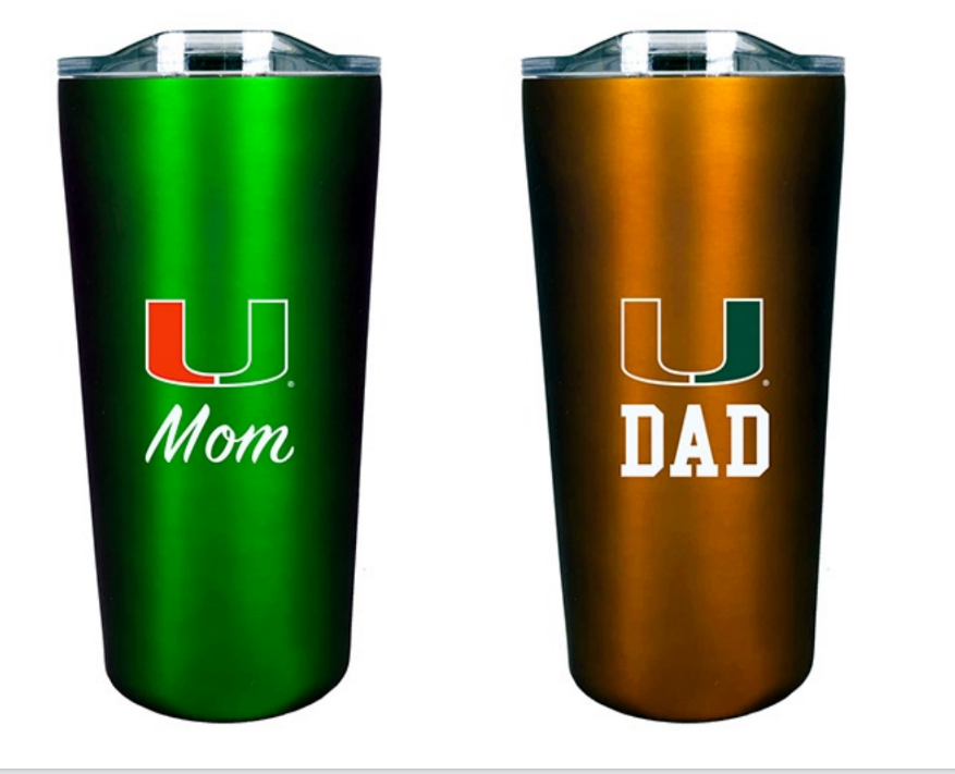 Miami Hurricanes Mom and Dad 18 oz. Tumbler Set
