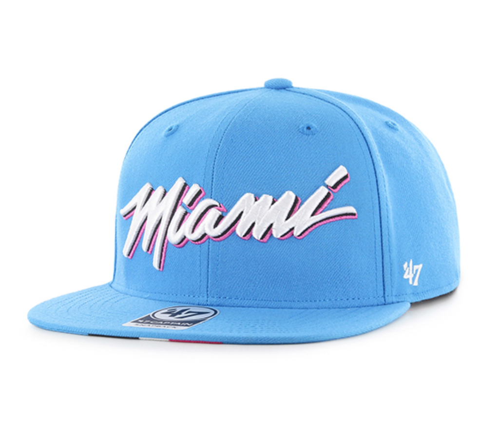Miami Heat '47 Brand City Edition Captain Wool Snapback Hat - Glacier Blue