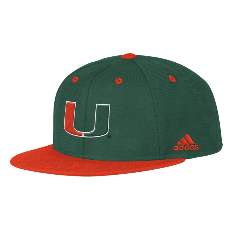 Miami Hurricanes adidas 2020 Baseball Fitted Hat - Green
