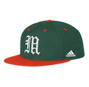 Miami Hurricanes adidas 2020 On Field Baseball Fitted Cap - Green