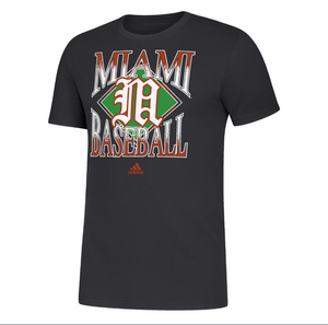 Miami Hurricanes 2020 adidas Women's Amplifier Baseball T-Shirt - Black
