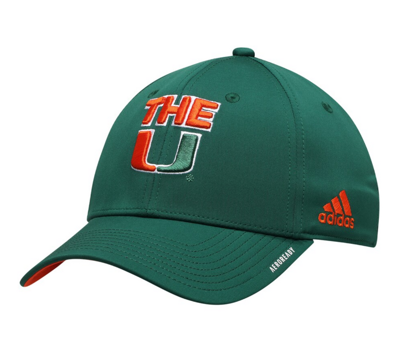 "Miami Hurricanes 2020 adidas ""The U"" Stretch Flex Fit Hat - Green"