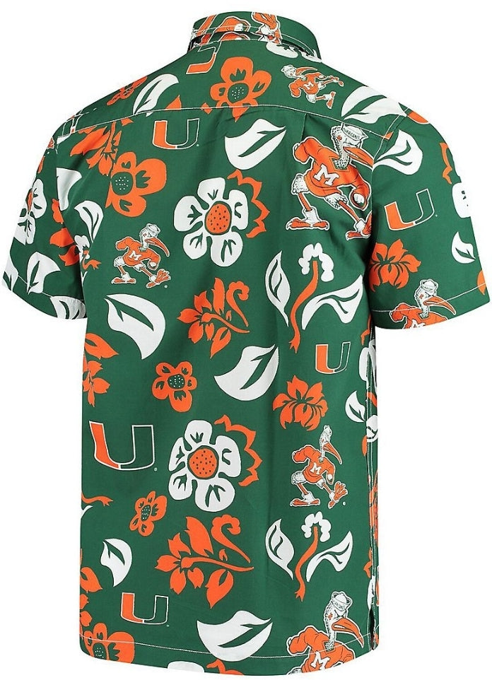Miami Hurricanes Team Floral Button Up Evergreen Shirt