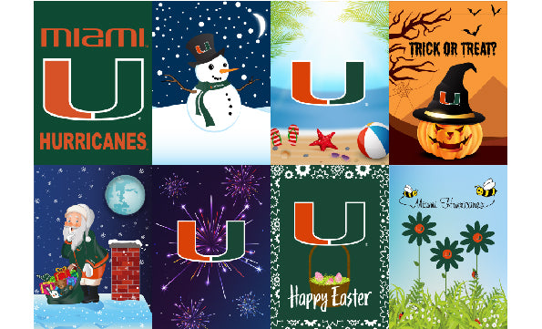 Miami Hurricanes 8 Pack Seasonal Garden Flag Set
