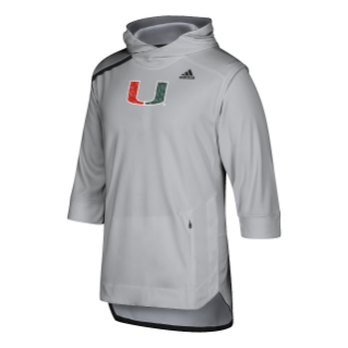 Miami Hurricanes adidas Men's Team Issue Basketball Warmup Hoodie- Grey