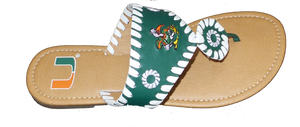 Miami Hurricanes Whipstitch Sebastian Sandals - Kids Green - CanesWear at Miami FanWear Footwear Turnovers CanesWear at Miami FanWear