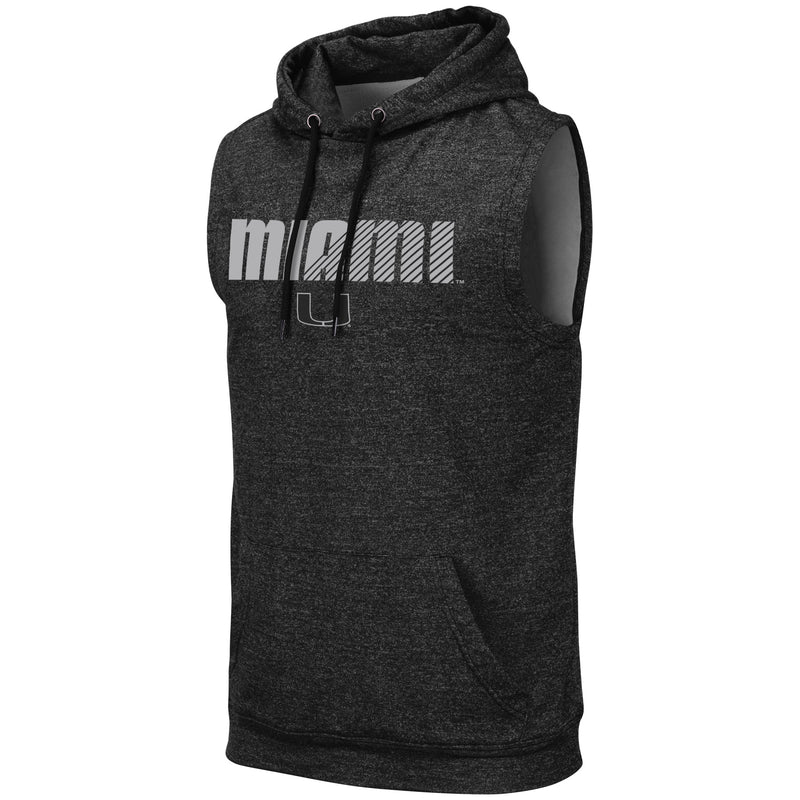 Miami Hurricanes Colosseum Men's Sleeveless Hoodie- Miami U- Charcoal/Black