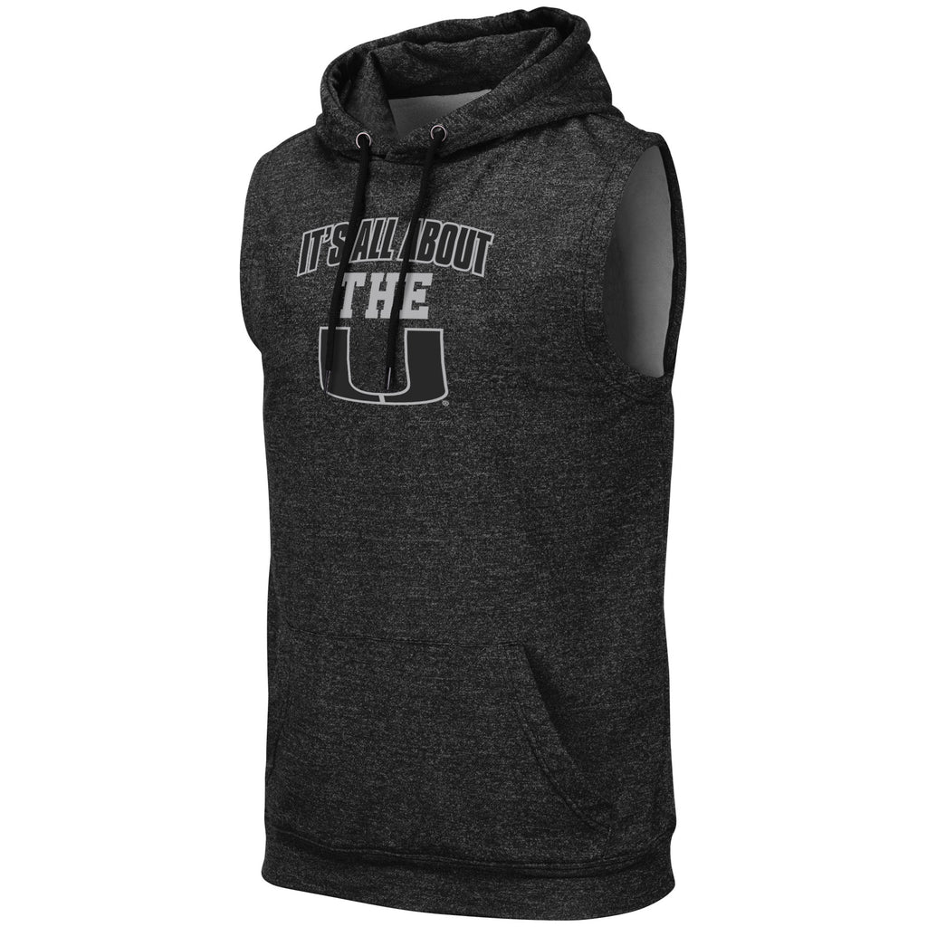 Miami Hurricanes Colosseum Men's Sleeveless Hoodie- It's All About The U - Charcoal/Black