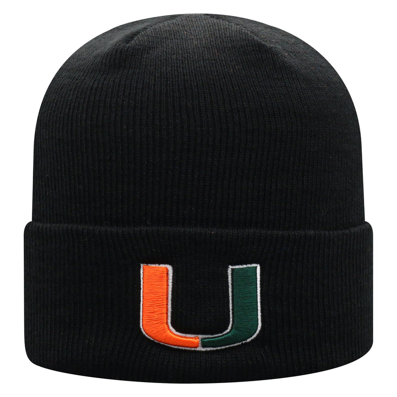 Miami Hurricanes Top of the World Youth Tow Cuffed Knit Beanie - Black