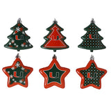 Miami Hurricanes Six-Pack Shatterproof Tree And Star Ornament Set