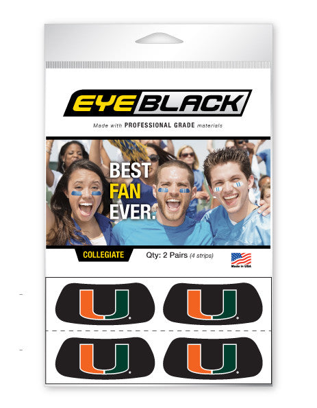 Miami Hurricanes Eye Black U Logo Set of 4 - CanesWear at Miami FanWear Tailgate Gear Eye Black CanesWear at Miami FanWear