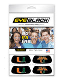 Miami Hurricanes Eye Black in Black It's All About the U, Set of 4