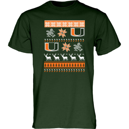 Miami Hurricanes Ugly Sweater T-Shirt - CanesWear at Miami FanWear Men's T-Shirt Blue 84 CanesWear at Miami FanWear