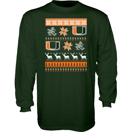 Miami Hurricanes Ugly Sweater L/S T-Shirt - CanesWear at Miami FanWear Men's Apparel Blue 84 CanesWear at Miami FanWear