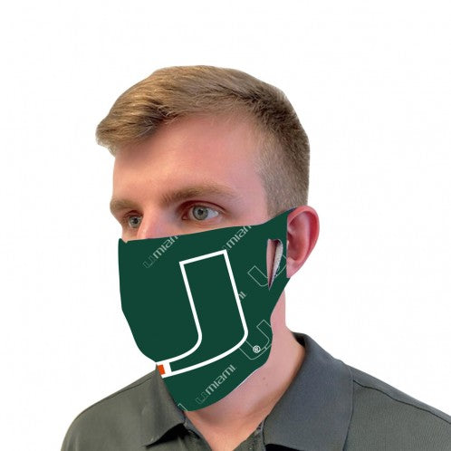Miami Hurricanes Fan Mask Face Covers - U Green with Scatterprint