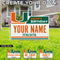 Miami Hurricanes Custom Happy Birthday U Logo Lawn Sign