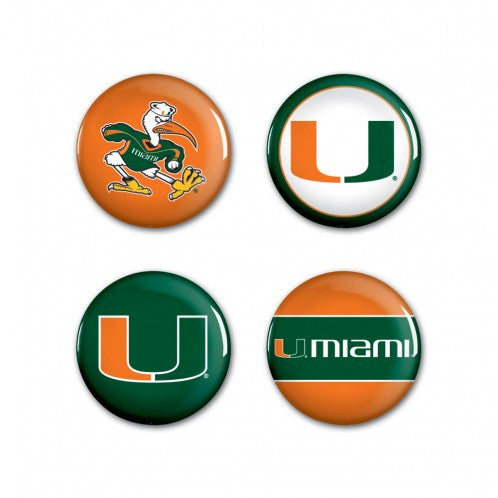 Miami Hurricanes 4 Pack Buttons