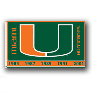 Miami Hurricanes 5 x National Champs 3x5 Flag - CanesWear at Miami FanWear Home & Office BSI CanesWear at Miami FanWear