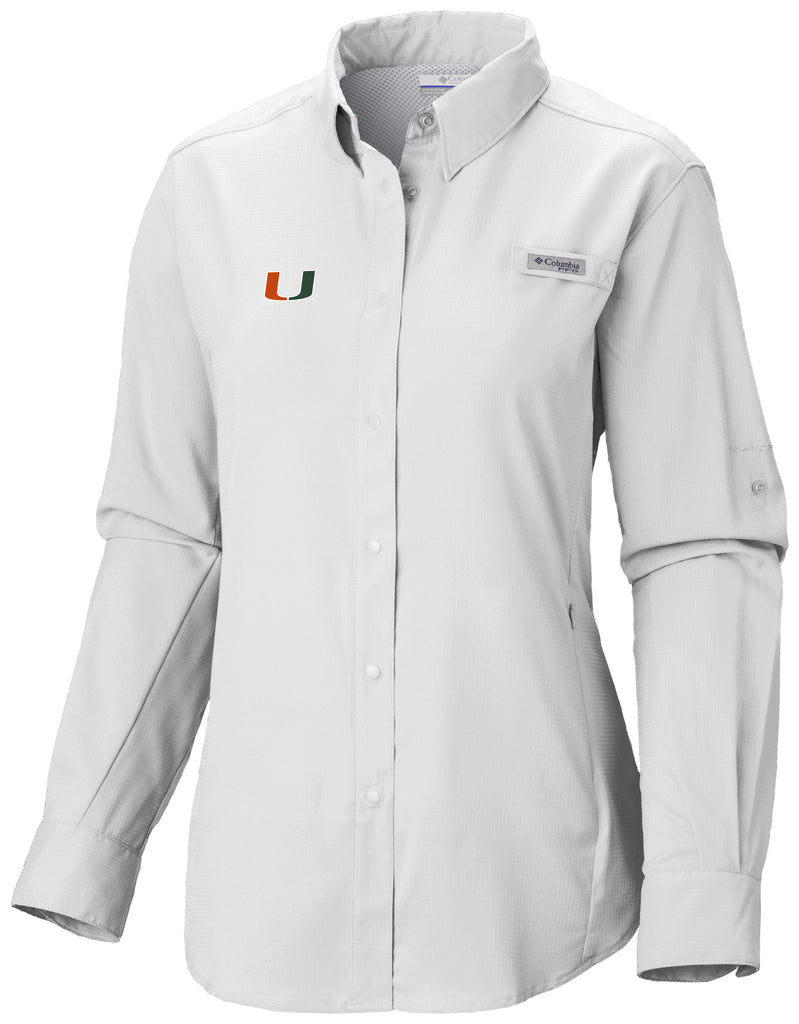 Miami Hurricanes Women's Columbia Tamiami L/S Shirt - CanesWear at Miami FanWear Women's Apparel Columbia CanesWear at Miami FanWear