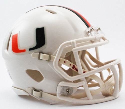 Miami Hurricanes Riddell Speed Mini Helmet - WhiteMiami Hurricanes Riddell Speed Mini Helmet - White
