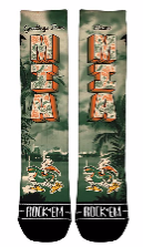 Miami Hurricanes Rock'em Greetings From MIA Socks - CanesWear at Miami FanWear Footwear Rock'em CanesWear at Miami FanWear