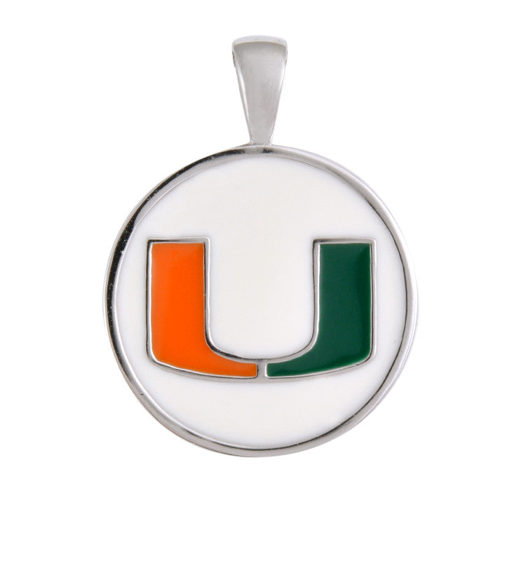 Miami Hurricanes U Pendant / Charm on White - CanesWear at Miami FanWear Jewelry Teagan CanesWear at Miami FanWear