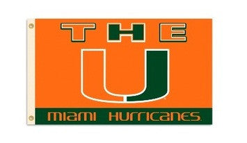 Miami Hurricanes The U 3x5 Flag - CanesWear at Miami FanWear Accessories BSI CanesWear at Miami FanWear