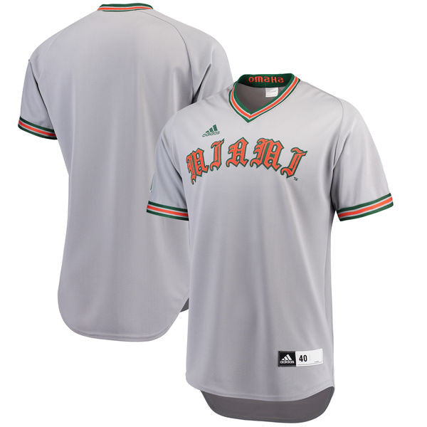Miami Hurricanes adidas Authentic  Throwback Baseball Jersey -  Gray