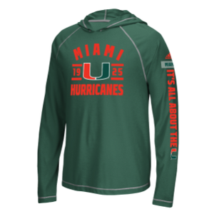 Miami Hurricanes adidas Ultimate Performance L/S Hoodie Tee- Green
