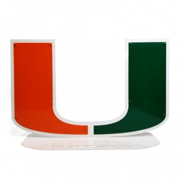 Miami Hurricanes Metal U Logo Sign on Oval Base - 24""