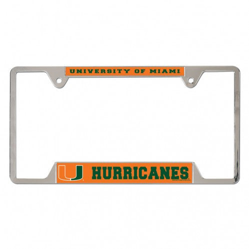 Miami Hurricanes License Plate Frame - Chrome/Orange - CanesWear at Miami FanWear Automobile Accessories Laser Magic CanesWear at Miami FanWear
